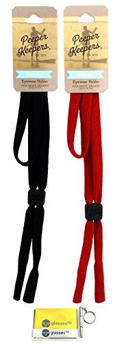 Peeper Keepers Attitube Eyeglass Retainer, Sunglass Holder, Black and Red, 2 pack mix, w/Cloth & - Mix Black Red And