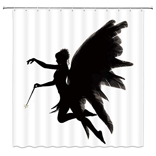 Butterfly Girl Shower Curtain Abstract Magic Wand Novel Fairy Angel Wings Dreamy Shadow Bathroom Decor Accessories Fabric Polyester Waterproof,70X70 Inch,Black White