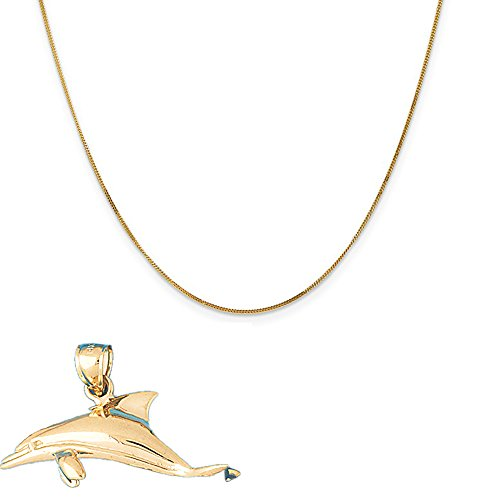 14k Yellow Gold Dolphins Pendant on a 14K Yellow Gold Curb Chain Necklace, 16'' by Eaton Creek Collection