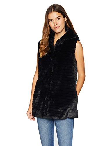 Nanette Lepore Women's Vegan Fur Coat, Black, M