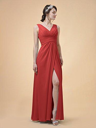 Alicepub V-cou Robe De Demoiselle D'honneur Longue En Mousseline Une Ligne Robe Maxi Robe De Bal Rouge De Fête
