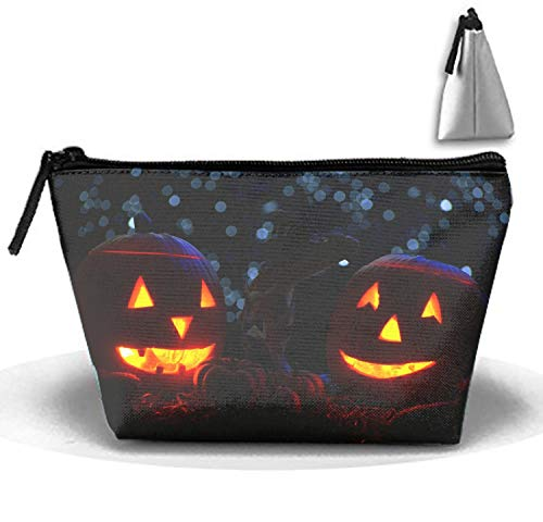 Halloween Scary Pumpkins Makeup Bag/Travel Cosmetic Bags/Toilet Bag/Jewelry Storage Bag Portable]()