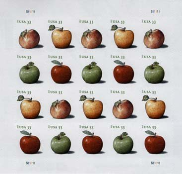 Apples sheet of 20 x 33 cent U.S. Postage Stamps