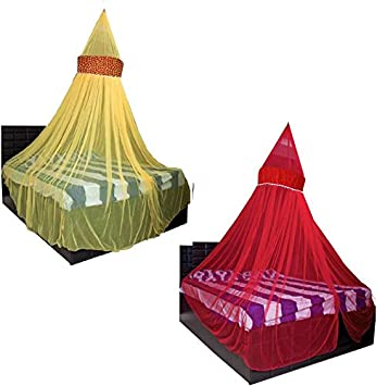 Creative Textiles Combo of Polyester Hanging Double Bed Mosquito Net, Size: King Size (Yellow+Red)