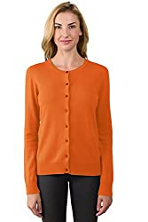 Jennie Liu Women S 100 Cashmere Button Front Long Sleeve Crewneck Cardigan Sweater S Tangerine