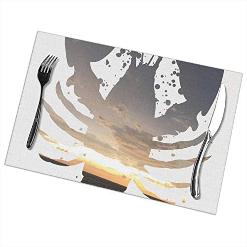 Efbj Washable Placemats for Kitchen Table Dining Room Decor, Lobster Sunrise Print Table Mats Rectangle, 6 PCS]()
