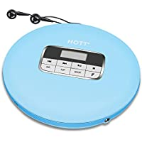 Portable CD Player, HOTT Portable Personal CD Player with Headphone Jack, Anti-Skip / Shockproof Protection Compact CD Music Disc Walkman Player with LCD Display for Adults Student Kids, Light Blue