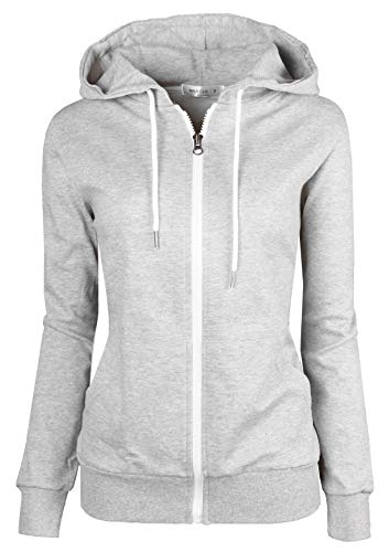 MAJECLO Women's Casual Full-Zip Hooded Lightweight Long Sleeve Sweatshirt(XLarge, 2019_Grey)