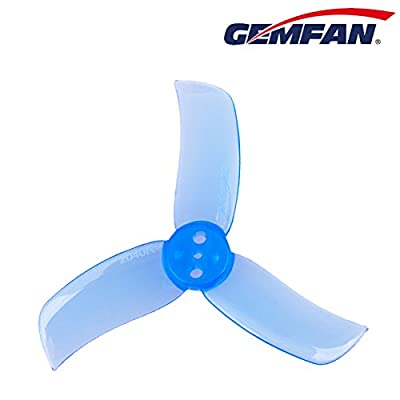 16pcs Gemfan 2040 3-Blade Propellers 2.0 Inch Triblade Props Compatible with 0804 0806 1103 1104 1105 6200-10000KV Brushless Motors (Transparent and Transparent Blue)