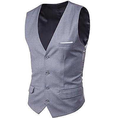 Nice S&S-Men Fashion Slim 4 Button V-Neck Formal Wedding Dress Suit Vest Waistcoat for sale