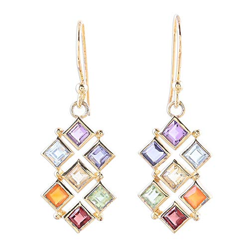 NOVICA Multi-Gem Amethyst 22k Gold Vermeil .925 Sterling Silver Dangle Earrings, Wellness