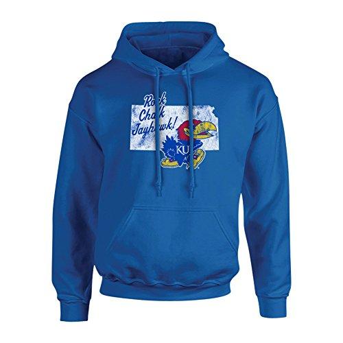 Elite Fan Shop Kansas Jayhawks Hooded Sweatshirt Vintage Blue - XL