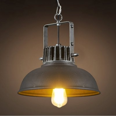 fei 13'' W Black Iron Pendant with Dome Shade