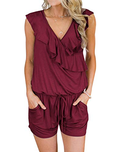 Jumper V-neck Womens - MEROKEETY Women's Summer V Neck Ruffles Sleeveless Shorts Elastic Waist Pockets Jumpsuit Rompers