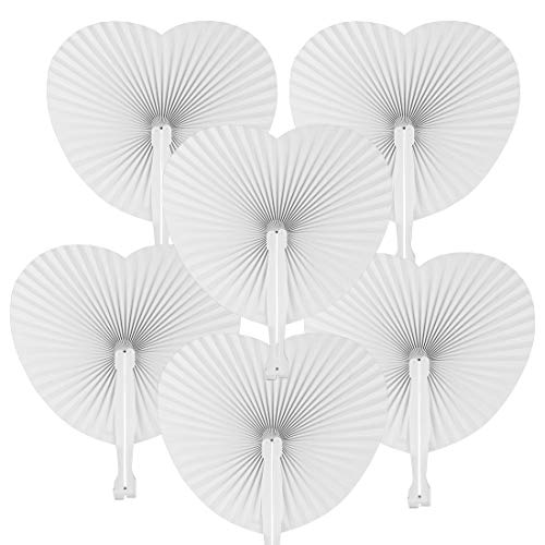 JINSEY Set of 48 White Paper Folding Fans Wedding Favors – Bulk Heart Shaped Hand Held Fans Chinese Fans Personalized for Wedding Church Beach Party DIY Craft