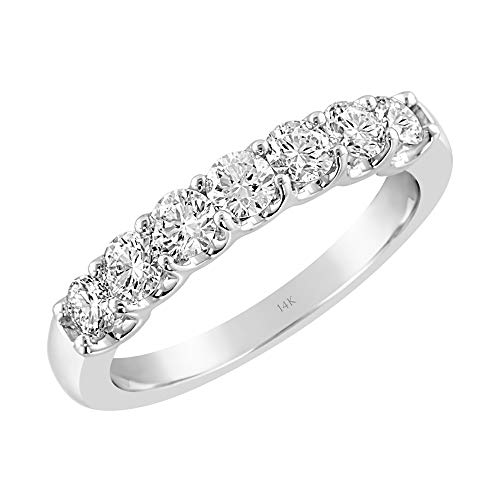 Brilliant Expressions 14K White Gold 3/4 Cttw Colorless Lab-Grown Conflict Free Diamond Shared Prong 7-Stone Shared Prong Anniversary Band (E-F Color, VS2-SI1 Clarity), Size 6