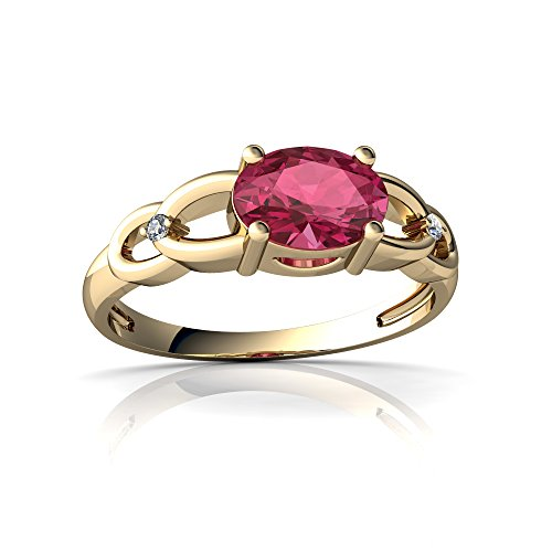 14kt Yellow Gold Pink Tourmaline and Diamond 7x5mm Oval Links Ring - Size 8
