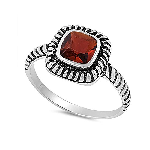 Bezel Solitaire Twisted Cable Oxidized Design Fashion Ring Princess Cut Simulated Red Garnet 925 Sterling Silver (Princess Ring Cut Garnet)