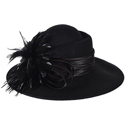 HISSHE Women 100% Wool Bow Rhinestone Church Winter Wedding Party Hat (Feather-Black)