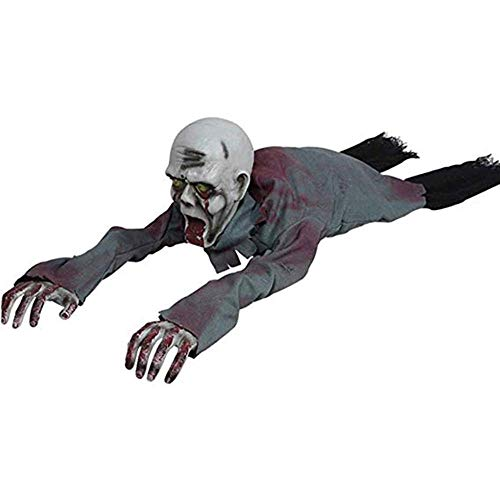 Festival Mask Halloween Crawling Zombie Props 110CM/36Inch Scary Haunted House with Creepy Scream Glowing Eyes Battery Operated Motion Sensor Light Control Halloween Decorations,White Costume Mask]()
