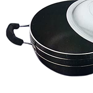 Valentine Day Special Gift, Aluminium Non-Stick Deep Kadhai With Lid,Free Scrubber & Pastic Paddle, Strong Stainless Steel Handle Black Color Size 8.9 X 8.9 Inch