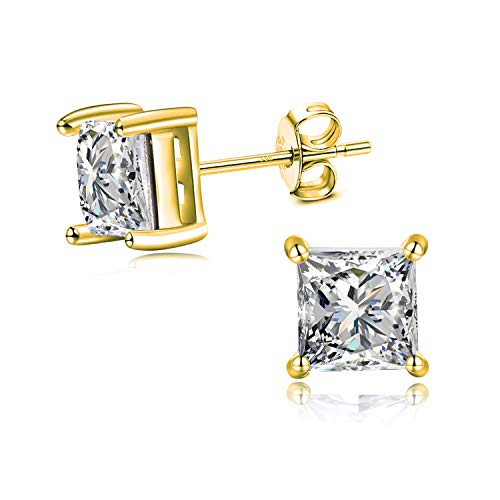Hypoallergenic Sterling Silver Mens Gold Earrings Studs 6MM Princess Cut Chic Boys Earrings 14K Gold Plated Studs Earrings for Women(Cube 6mm Gold)