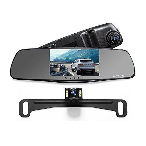auto vox m3 full hd 1080p upgraded dual lens dash cam front and rear dash cam rear view mirror. Black Bedroom Furniture Sets. Home Design Ideas