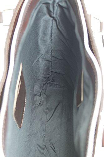 Con A Italy Classica 34x36x10cm Ctm Donna Marrone In Borsa Vera Da Scuro 100 Pelle Manici Made Mano nwYxqg1xf