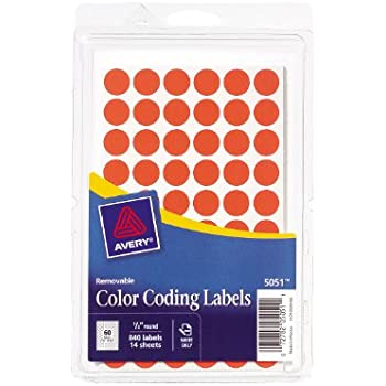 Avery Removable Color Coding Labels, 0.5 Inch, Neon Red, Round, Pack of 840  (5051)