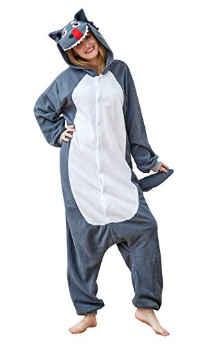 Unisex Adult Animal Cosplay Costume Wolf Onesie