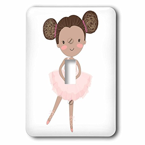 3dRose LSP_254865_1 Cute African American Ballerina Little Girl Illustration Single Toggle -
