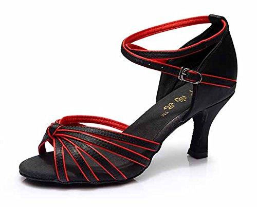 YFF Neue Women's Ballroom Latin Tango Schuhe 5 cm und 7 cm hohem Absatz,Schwarz Rot 7 cm,7.
