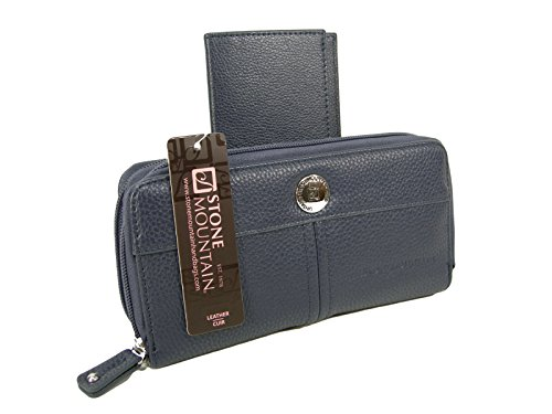 new-stone-mountain-wallet-checkbook-purse-bag-genuine-leather-navy-2-piece