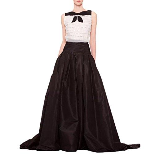 WDPL Women's Floor Length High Waist Taffeta Bridal Prom Skirt Size 10 US Black Floor Length Taffeta Satin