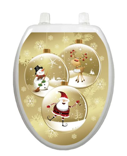Snow Globes Christmas Toilet Tattoo TT-X627-O Elongated Winter Holiday by Toilet Tattoo