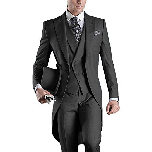 - Lilis Mens Premium Tail Tuexdo 3 Pieces Suit Tailcoat Jacket Tux Vest & Trousers Dark Gray