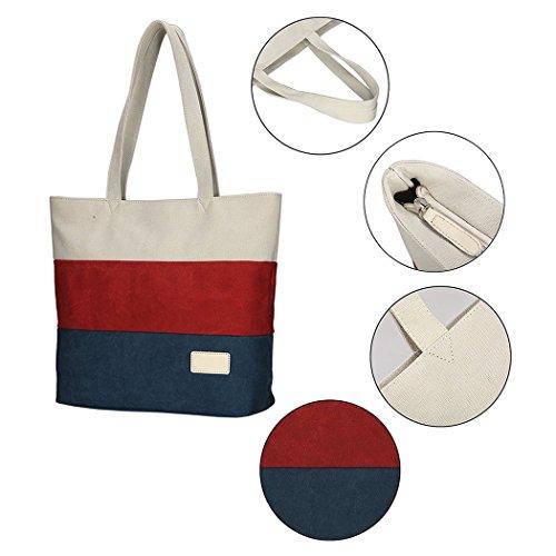 Bag Tote Stripe Canvas Vrikoo Handbag Women's Azul Rojo Shoulder Lightweight nqUw0pCw