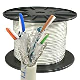 InstallerParts 1000 ft Cat 6 Stranded Wire Bulk Cable Shielded Gray