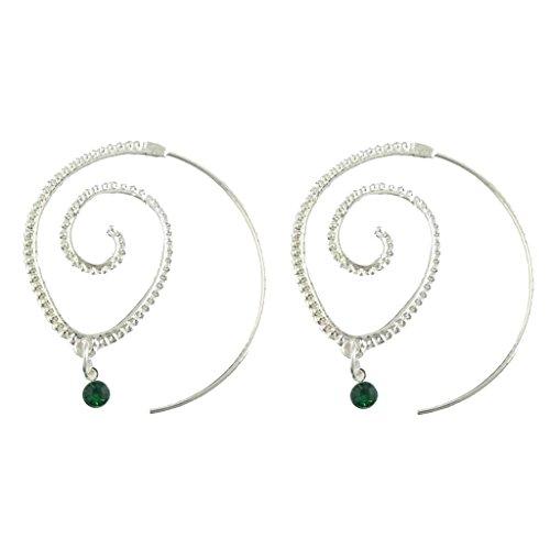 Baoblaze Pendientes Aretes de Aro Círculo Espiral Estilo Étnico para Mujer (Color Plata / Oro) - plata 1