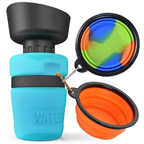 lesotc Dog Water Bottle, Collapsible Dog Bowl, Pet Water Bottle, Water Bottle for Dogs with Dog Bowls, BPA Free, 18 OZ
