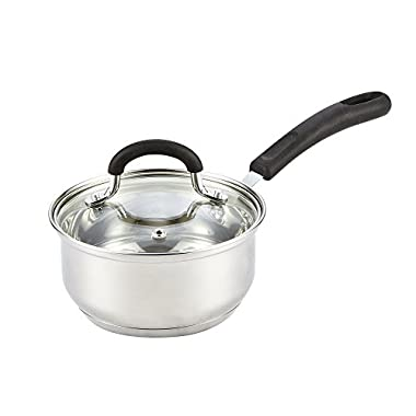 Cook N Home Stainless Steel Cookware 1 Quart Sauce Pan with Lid