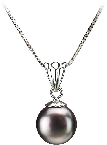 PearlsOnly - Nancy Black 9-10mm AA Quality Freshwater 925 Sterling Silver Cultured Pearl (Designer Costume Jewelry)