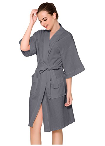 CaiDieNu Women's Kimono Bathrobe Waffle Hotel Spa Robe Knee-Length Cotton Nightgowns Sleepwear, Grey, Small / Medium ()