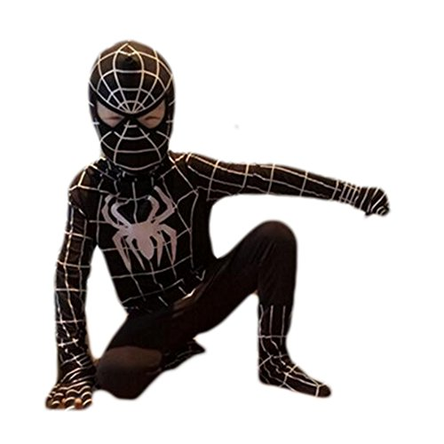 Besties shop Superhero Spiderman Skin Cosplay Costume Suit - Red & (Black Spiderman Halloween Costume)