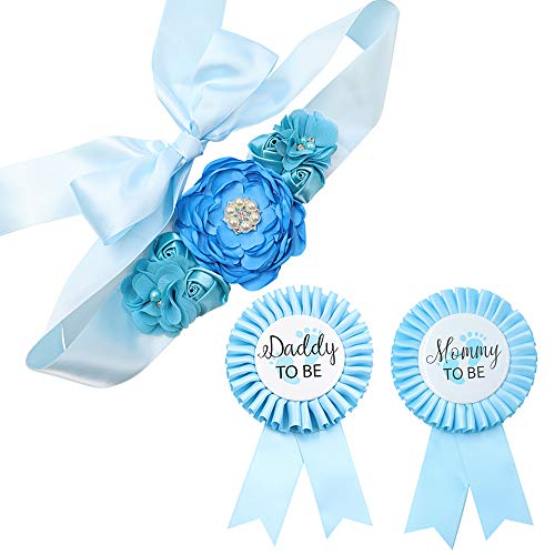 Sky Blue Maternity Sash & Mommy Daddy Corsage Kit - Baby Shower Sash Baby Boy Pregnancy Sash Keepsake Baby Shower Flower Belly Belt (Mommy To Be Corsage For Baby Shower)