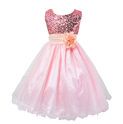 Wocau Little Girls' Sequin Mesh Tull Dress Sleeveless Flower Party Ball Gown (110(3-4 Years), Pink) (Pink Glitter Flower)