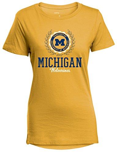 - Camp David NCAA Michigan Wolverines Women's Perfect Crewneck Tee, Small, Marigold
