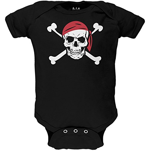 (Old Glory Jolly Roger Pirate Costume Baby One Piece - 3-6)