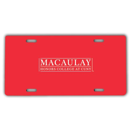 Macaulay Honors License Plate 'Official Logo' by CollegeFanGear