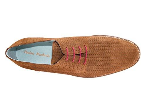 Andres Machado 6205 - Schuhe IM Oxford-Stil Rauleder - Made in Spain Braun Flechte